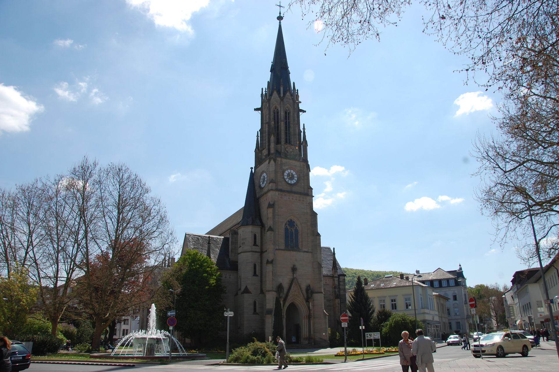 Blick auf die Herz-Jesu-Kirche in Bad Kissingen